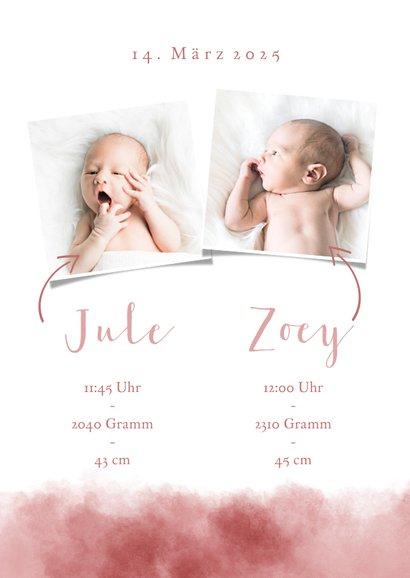 Geburts-Danksagung Zwilling Fotos & rosa Elefant 3