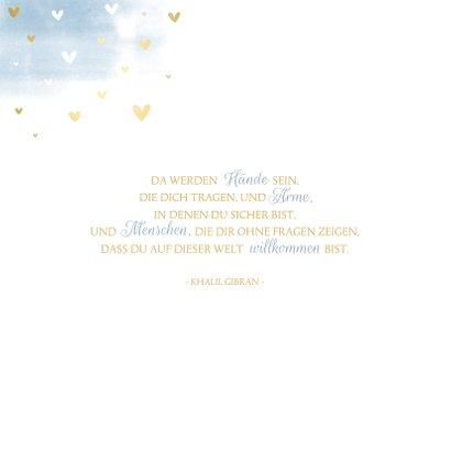 Geburtskarte Aquarell blau Regenbogen 2