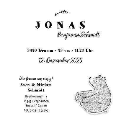 Geburtskarte Bär Illustration schwarzweiß 3