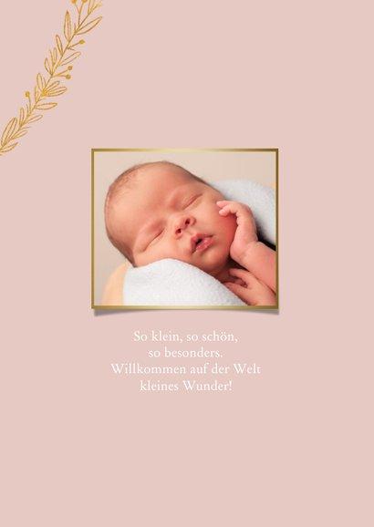 Geburtskarte botanisch goldener Zweig und Foto innen 2
