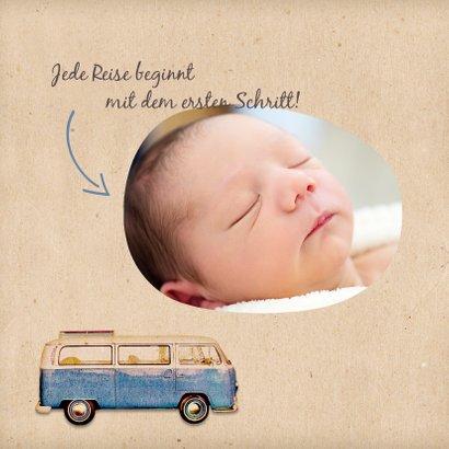 Geburtskarte Bulli Kraftpapier Foto blau innen 2