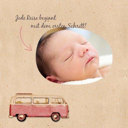 Geburtskarte Bulli Kraftpapier rosa Foto innen 2