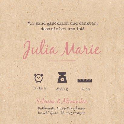 Geburtskarte Bulli Kraftpapier rosa Foto innen 3