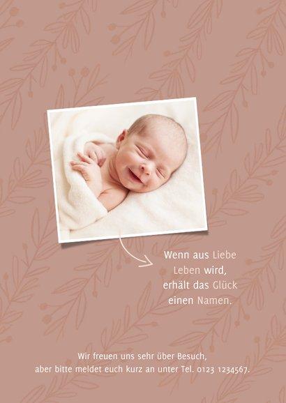 Geburtskarte eigenes Foto altrosa Zweige 2