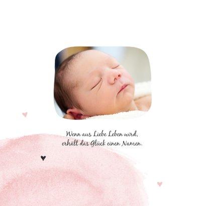 Geburtskarte Elefant Aquarell rosa Foto innen 2