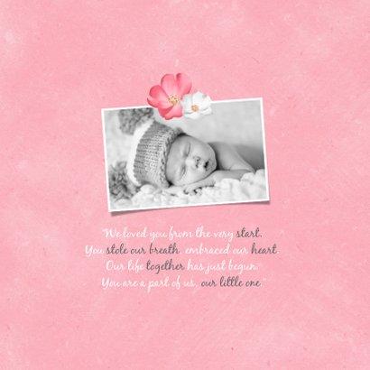 Geburtskarte Elefant mit Herzchen rosa Foto innen 2