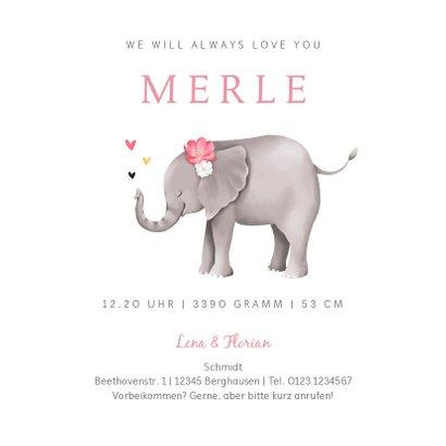 Geburtskarte Elefant mit Herzchen rosa Foto innen 3