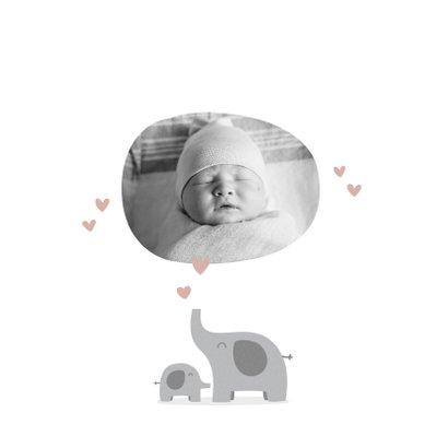 Geburtskarte Elefanten Foto rosa innen 2