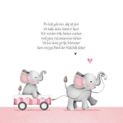 Geburtskarte Elefanten kleine Schwester in Wagen 2