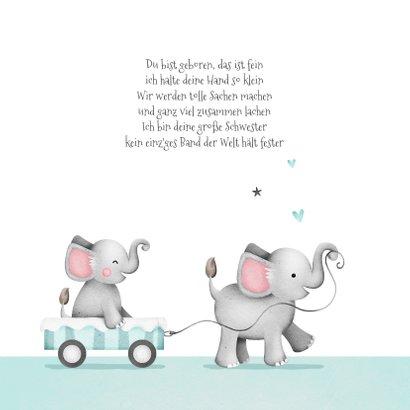 Geburtskarte Elefanten kleiner Bruder in Wagen 2