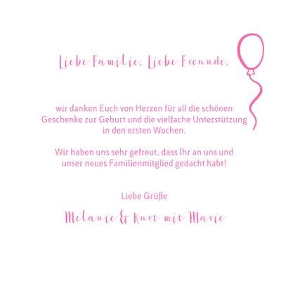 Geburtskarte Fotocollage rosa Herz und Icons 3