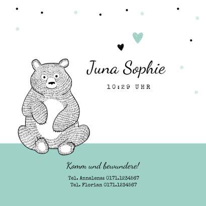 Geburtskarte für einen Zwilling Bären schwarzweiß 3