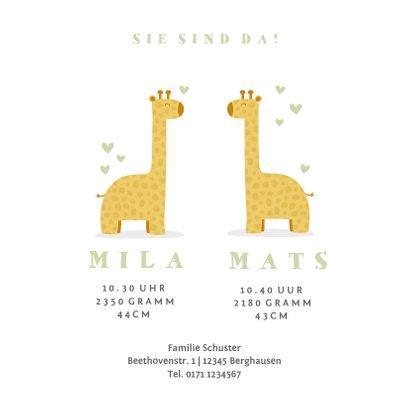Geburtskarte für Zwilling zwei Giraffen 3