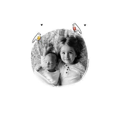Geburtskarte Geschwister kleine Vögel Foto innen 2