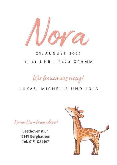 Geburtskarte Giraffen-Geschwister rosé Foto innen 3