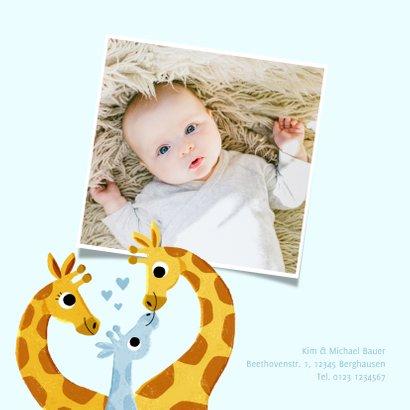 Geburtskarte Giraffenfamilie blau und Foto innen 2
