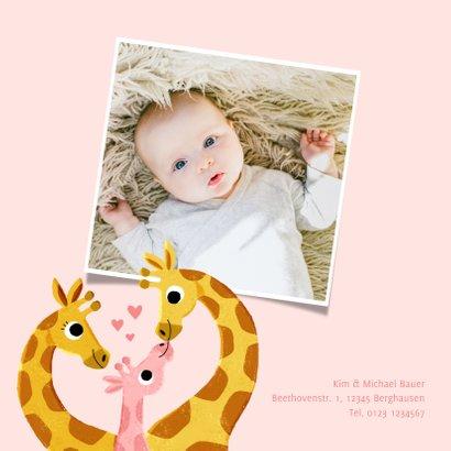 Geburtskarte Giraffenfamilie rosa und Foto innen 2