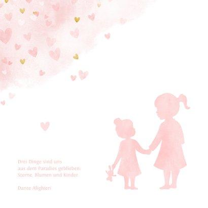 Geburtskarte Große Schwester kleine Schwester Herzen 2