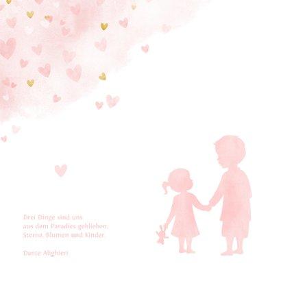 Geburtskarte Großer Bruder kleine Schwester Herzen 2