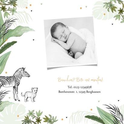 Geburtskarte grün Dschungel Tiere und Konfetti 2