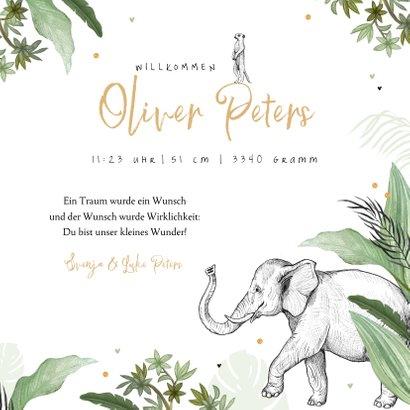 Geburtskarte grün Dschungel Tiere und Konfetti 3