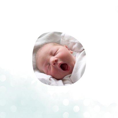 Geburtskarte hellblau Wasserfarbe und Punkte 2