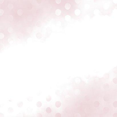 Geburtskarte hellrosa Wasserfarbe und Punkte Rückseite