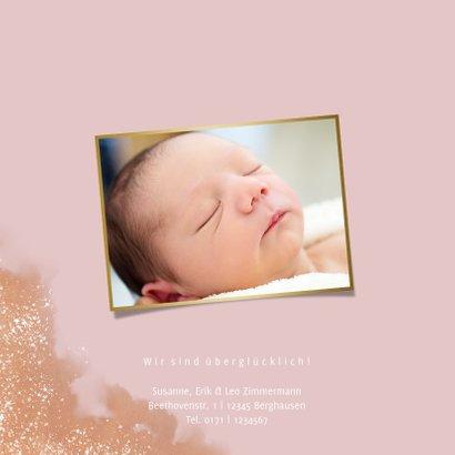 Geburtskarte in Altrosa Wasserfarbe Foto innen 2