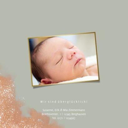 Geburtskarte in Graugrün Wasserfarbe Foto innen 2