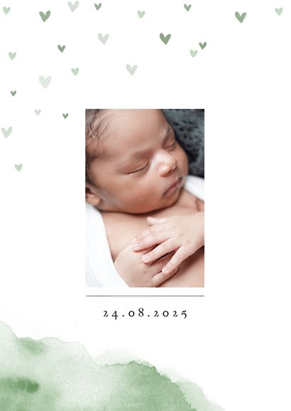 Geburtskarte Initiale Wasserfarbe Foto innen 2