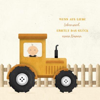 Geburtskarte Junge in Traktor 2