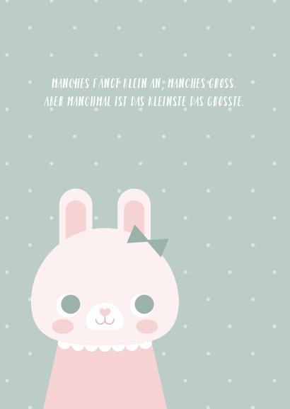Geburtskarte Kaninchen mit Schleife und Foto innen 2