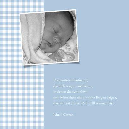Geburtskarte klassisch blaue Karos & Fotos 2