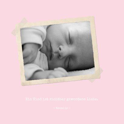 Geburtskarte klassische Streifen rosa mit Fotos 2