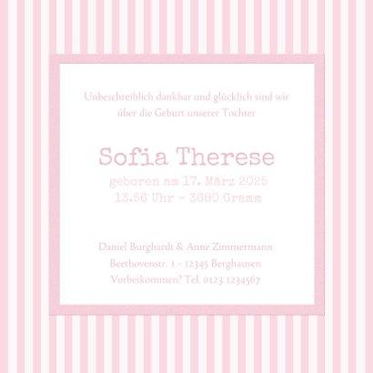 Geburtskarte klassische Streifen rosa mit Fotos 3