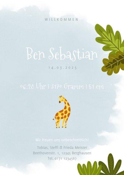 Geburtskarte kleine Giraffe Foto innen 3
