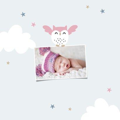 Geburtskarte kleine Schwester Eulen Foto innen 2