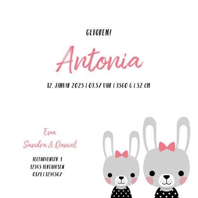 Geburtskarte kleine Schwester Hasenmädchen 3