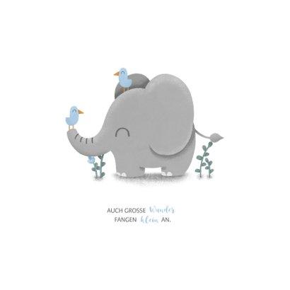 Geburtskarte kleiner Elefant blau mit Vögeln 2