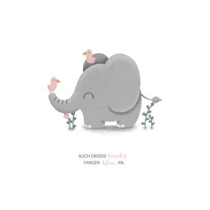 Geburtskarte kleiner Elefant rosa mit Vögeln 2