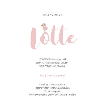 Geburtskarte kleiner Elefant rosa mit Vögeln 3