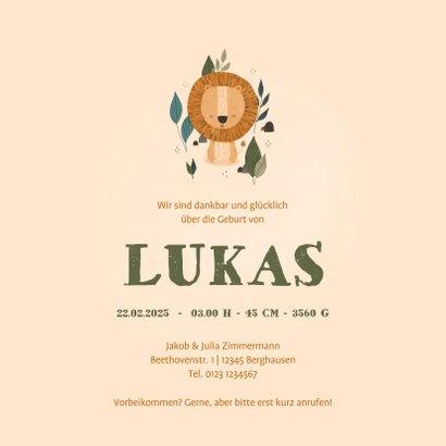 Geburtskarte Kleiner Löwe Foto innen 3
