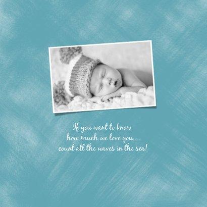 Geburtskarte kleiner Wal blau Foto innen 2