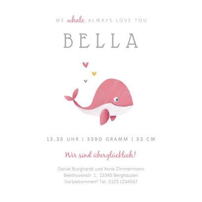 Geburtskarte kleiner Wal Foto rosa innen 3