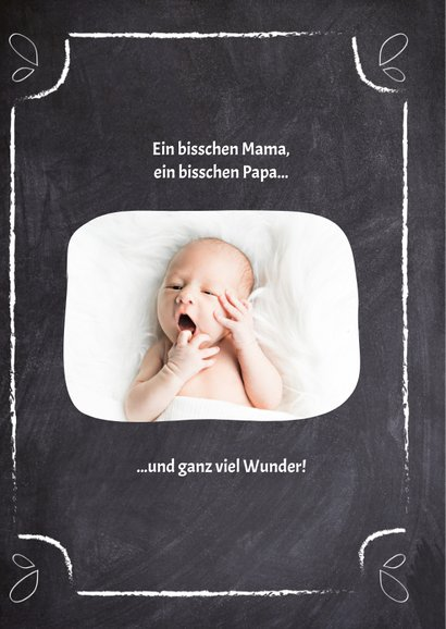 Geburtskarte Kreidetafel mit Foto blau 2