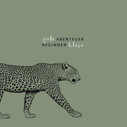 Geburtskarte Leopard olivgrün 2