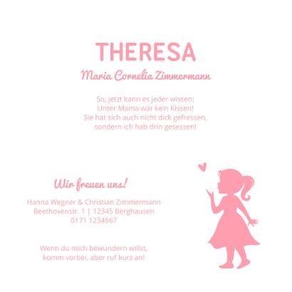 Geburtskarte Mädchen Kleid Silhouette 3
