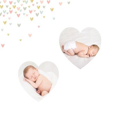 Geburtskarte mit Foto in Herzform & kleinen Herzchen 2