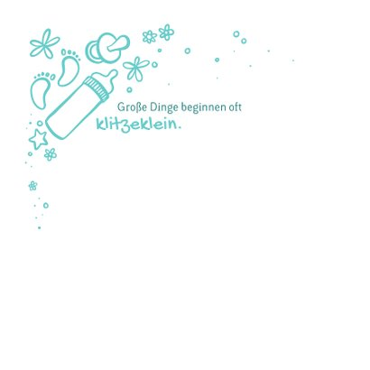 Geburtskarte mit Foto und Zeichnung - Farbe wählbar 2