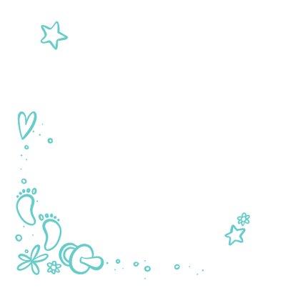 Geburtskarte mit Foto und Zeichnung - Farbe wählbar Rückseite